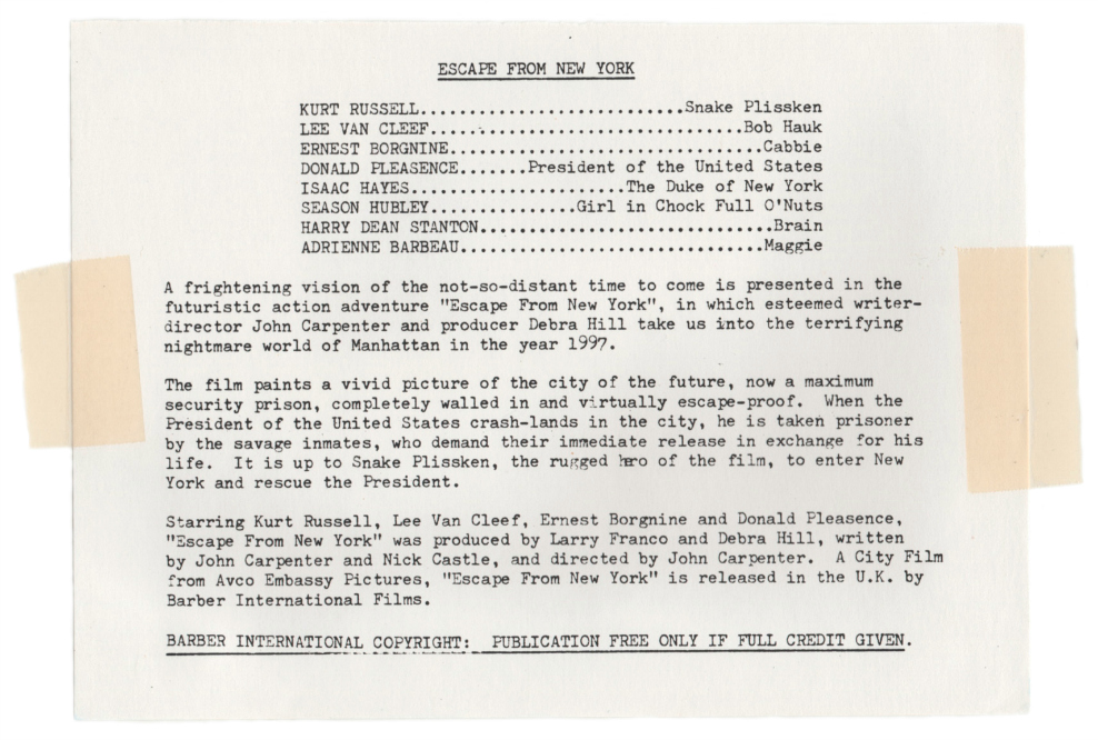 John Carpenter's Escape From New York Press-Kit